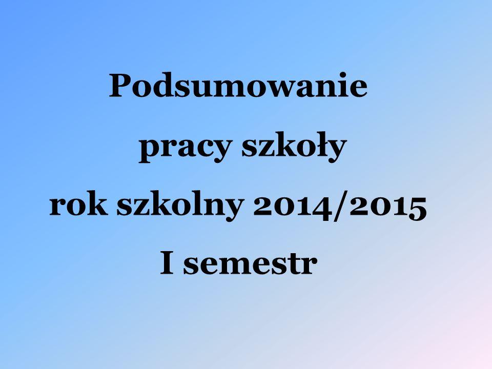 Podsumowanie pracy szkoły rok szkolny 2014/2015 I semestr