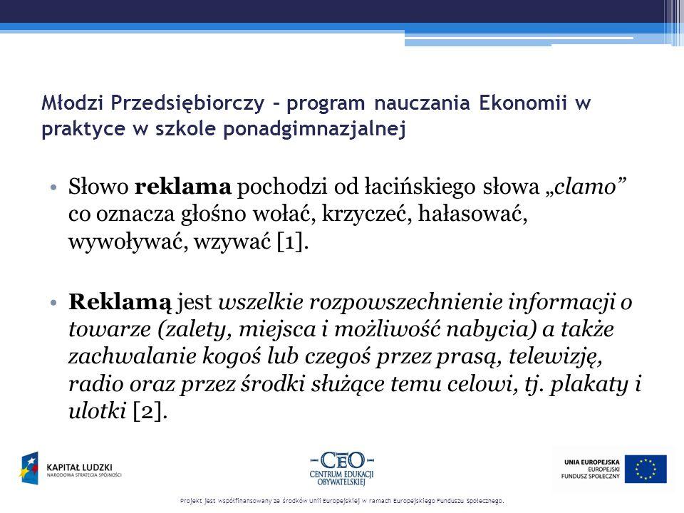 """Młodzi Przedsiębiorczy – program nauczania Ekonomii w praktyce w szkole ponadgimnazjalnej Słowo reklama pochodzi od łacińskiego słowa """"clamo"""" co oznac"""