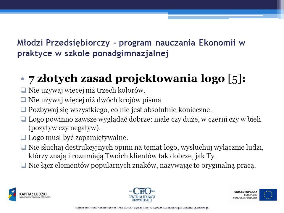 Młodzi Przedsiębiorczy – program nauczania Ekonomii w praktyce w szkole ponadgimnazjalnej 7 złotych zasad projektowania logo [5]:  Nie używaj więcej