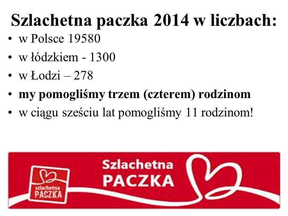 Szlachetna paczka 2014 w liczbach: w Polsce 19580 w łódzkiem - 1300 w Łodzi – 278 my pomogliśmy trzem (czterem) rodzinom w ciągu sześciu lat pomogliśmy 11 rodzinom!