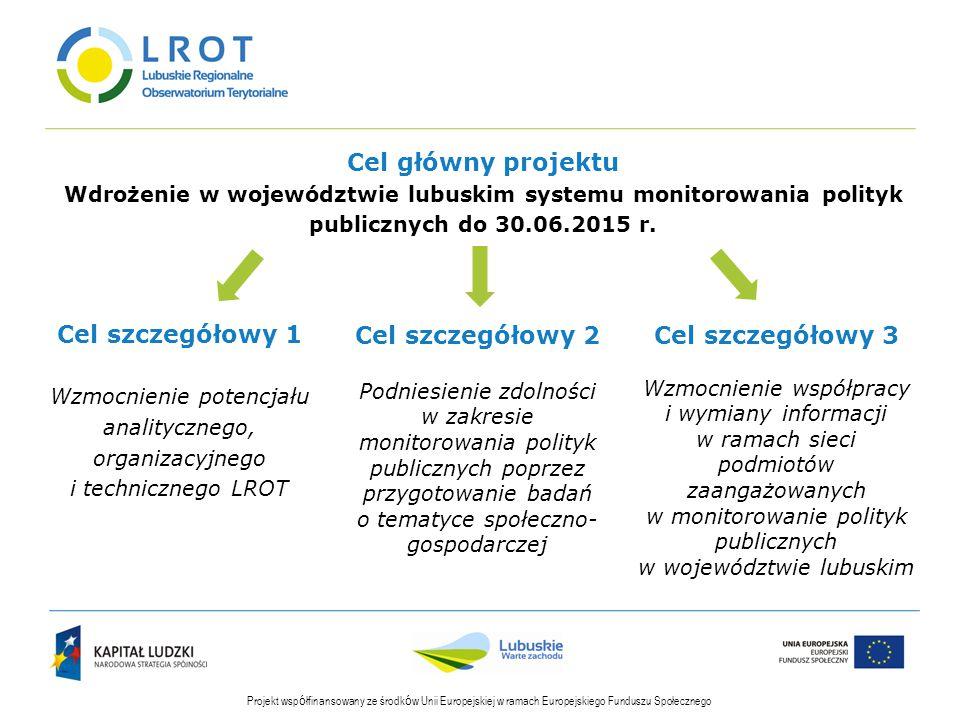 Cel główny projektu Wdrożenie w województwie lubuskim systemu monitorowania polityk publicznych do 30.06.2015 r.