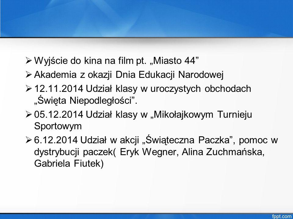 Uczniowie najlepsi w klasie: Maciej Wójcik- 5,31 Wiszko Borysewicz- 5,23 Alina Zuchmańska- 5,23 Martyna Murawka- 5,15 Piotr Zieliński - 4,92 Gabriela Fiutek- 4,77 Wojciech Jagusiak- 4,69