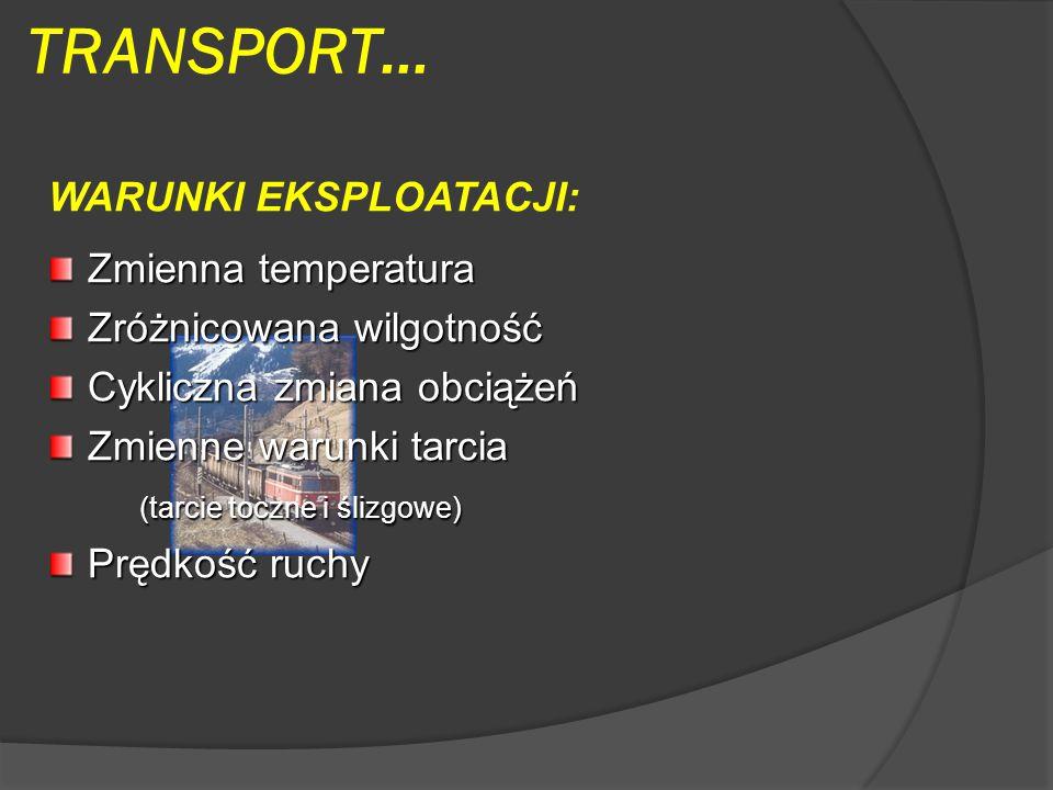 TRANSPORT… WARUNKI EKSPLOATACJI: Zmienna temperatura Zróżnicowana wilgotność Cykliczna zmiana obciążeń Zmienne warunki tarcia (tarcie toczne i ślizgowe) (tarcie toczne i ślizgowe) Prędkość ruchy