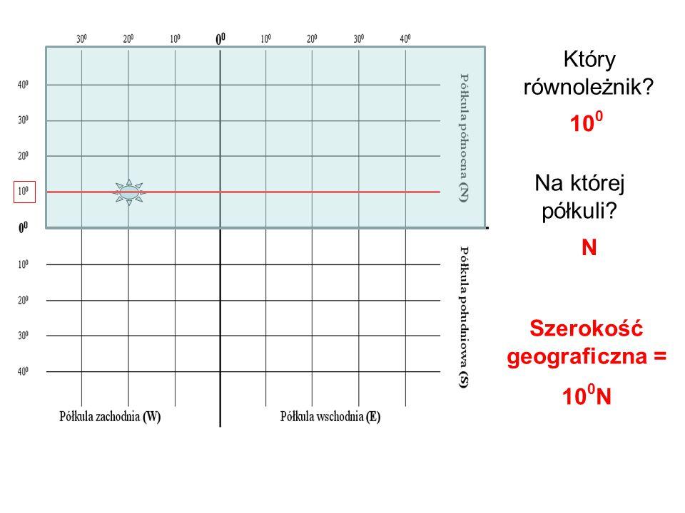 Który równoleżnik? Na której półkuli? 10 0 N Szerokość geograficzna = 10 0 N