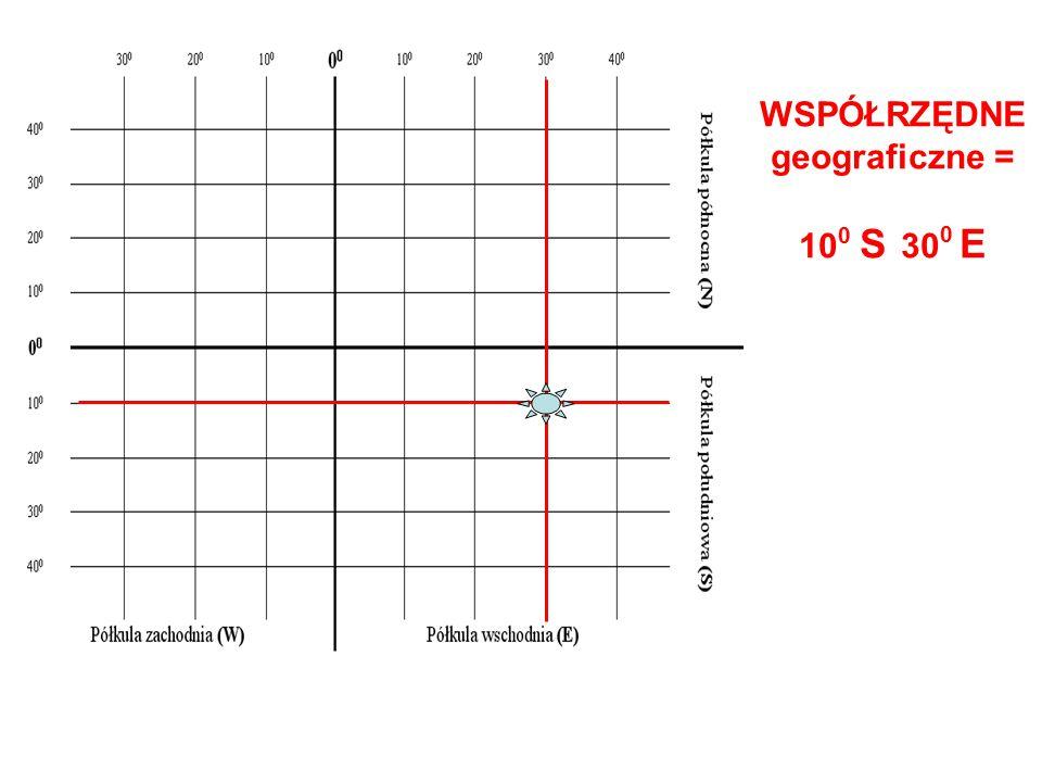WSPÓŁRZĘDNE geograficzne = 10 0 S 30 0 E