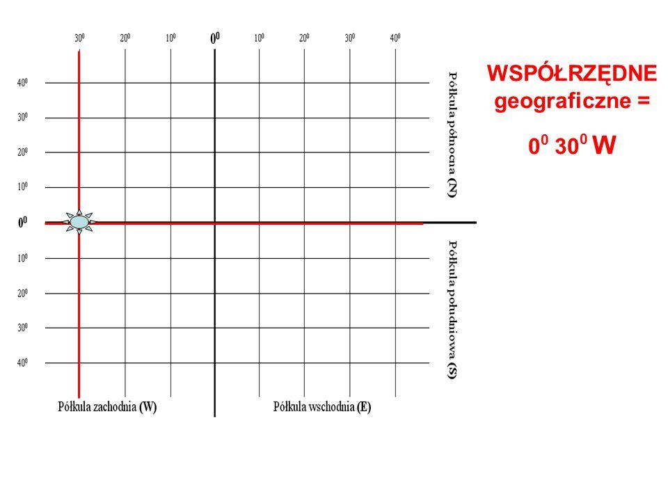 WSPÓŁRZĘDNE geograficzne = 0 0 30 0 W
