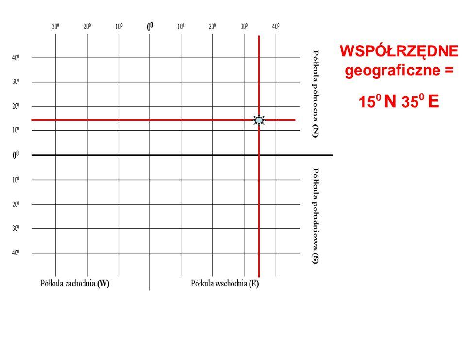WSPÓŁRZĘDNE geograficzne = 15 0 N 35 0 E