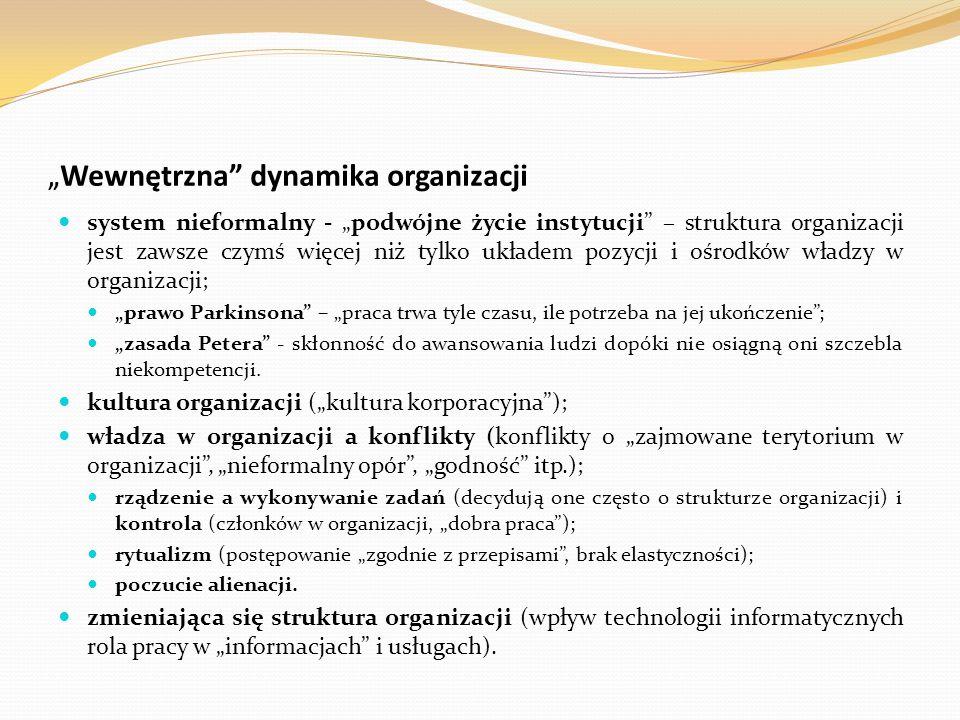 """"""" Wewnętrzna"""" dynamika organizacji system nieformalny - """"podwójne życie instytucji"""" – struktura organizacji jest zawsze czymś więcej niż tylko układem"""