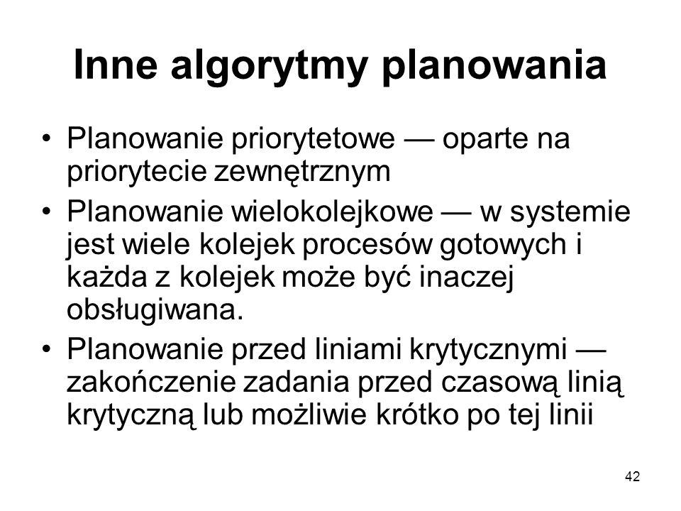 42 Inne algorytmy planowania Planowanie priorytetowe — oparte na priorytecie zewnętrznym Planowanie wielokolejkowe — w systemie jest wiele kolejek pro