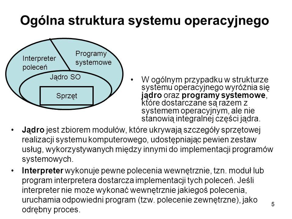 16 Podstawy działania systemu operacyjnego Odwołania do jądra systemu przez system przerwań lub specjalne instrukcje (przerwanie programowe) Sprzętowa ochrona pamięci Dualny tryb pracy — tryb użytkownika (ang.