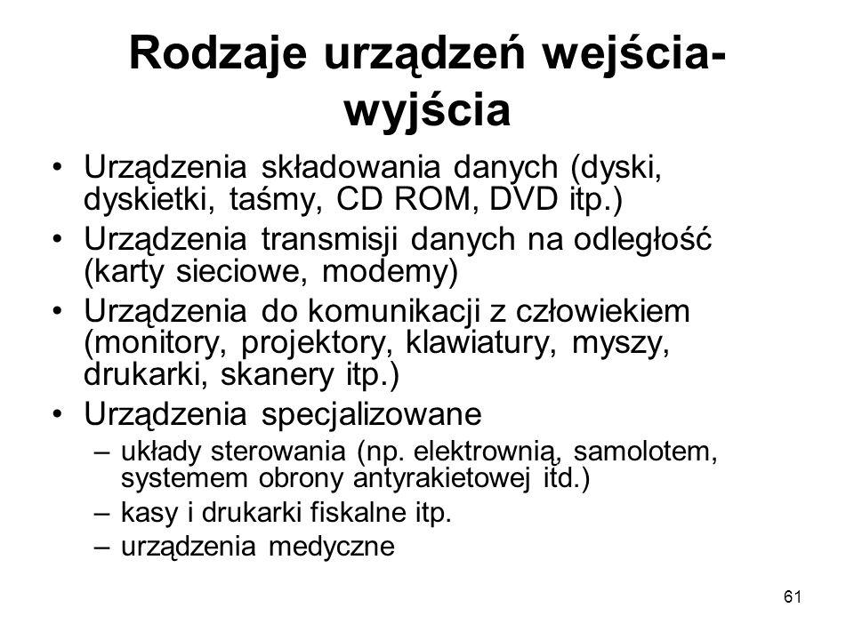 61 Rodzaje urządzeń wejścia- wyjścia Urządzenia składowania danych (dyski, dyskietki, taśmy, CD ROM, DVD itp.) Urządzenia transmisji danych na odległo