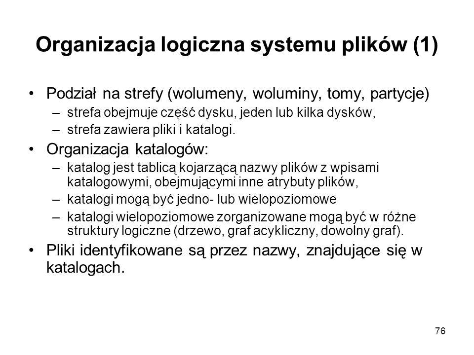 76 Organizacja logiczna systemu plików (1) Podział na strefy (wolumeny, woluminy, tomy, partycje) –strefa obejmuje część dysku, jeden lub kilka dysków