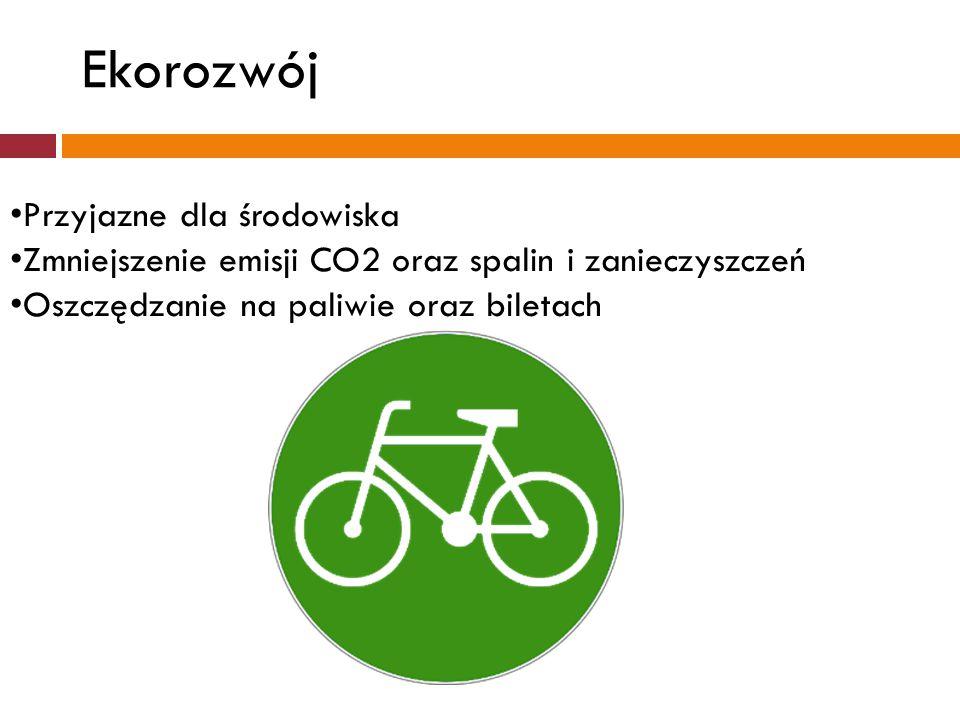 Przyjazne dla środowiska Zmniejszenie emisji CO2 oraz spalin i zanieczyszczeń Oszczędzanie na paliwie oraz biletach Ekorozwój