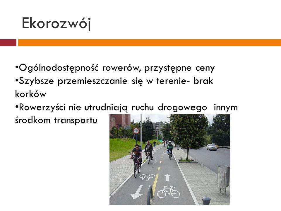 Ekorozwój Możliwość dojazdu do ciekawych miejsc, trudnodostępnych dla samochodów Ścieżki rowerowe są urozmaiceniem infrastruktury turystycznej Miejsce rekreacji dla całych rodzin