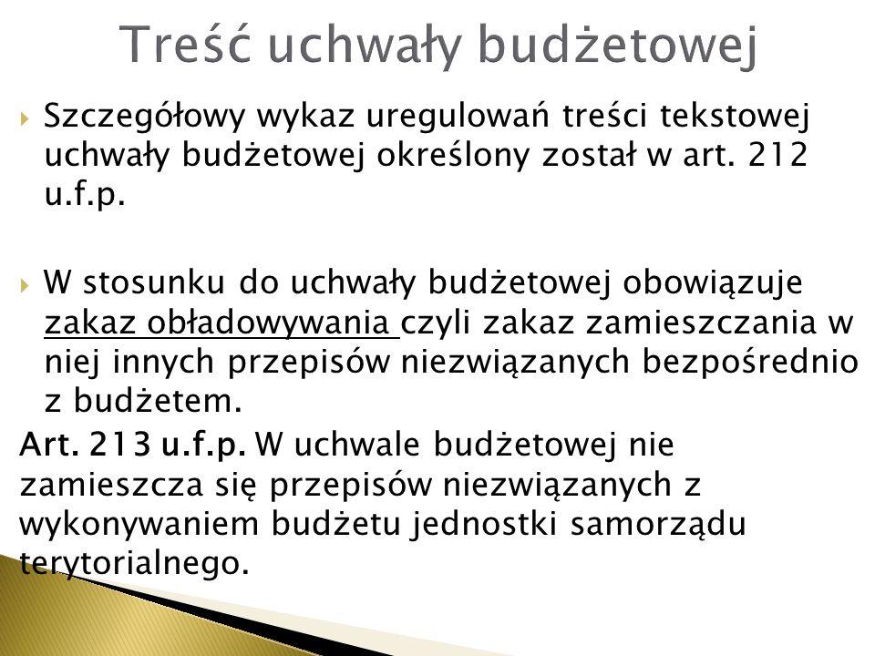  Szczegółowy wykaz uregulowań treści tekstowej uchwały budżetowej określony został w art. 212 u.f.p.  W stosunku do uchwały budżetowej obowiązuje za