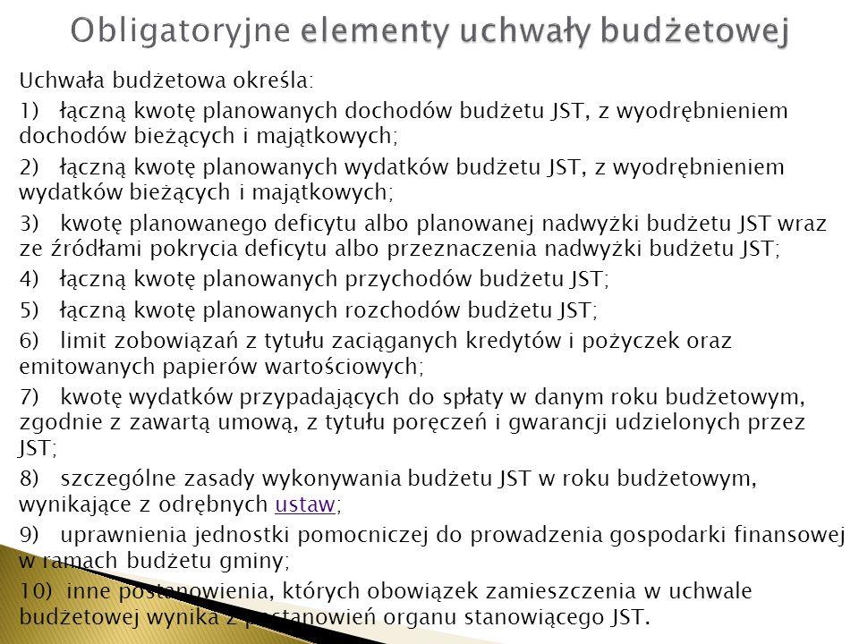 Uchwała budżetowa określa: 1) łączną kwotę planowanych dochodów budżetu JST, z wyodrębnieniem dochodów bieżących i majątkowych; 2) łączną kwotę planow