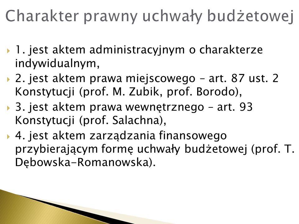  1. jest aktem administracyjnym o charakterze indywidualnym,  2. jest aktem prawa miejscowego – art. 87 ust. 2 Konstytucji (prof. M. Zubik, prof. Bo