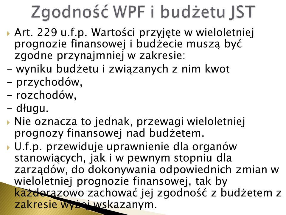 Art. 229 u.f.p. Wartości przyjęte w wieloletniej prognozie finansowej i budżecie muszą być zgodne przynajmniej w zakresie: - wyniku budżetu i związa