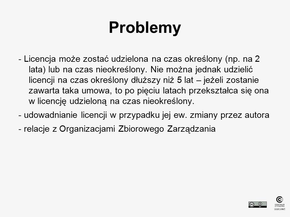 Problemy - Licencja może zostać udzielona na czas określony (np. na 2 lata) lub na czas nieokreślony. Nie można jednak udzielić licencji na czas okreś