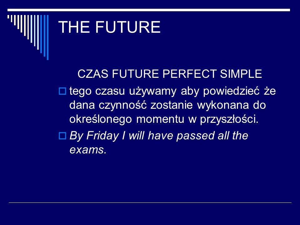 THE FUTURE CZAS FUTURE PERFECT SIMPLE  tego czasu używamy aby powiedzieć że dana czynność zostanie wykonana do określonego momentu w przyszłości.