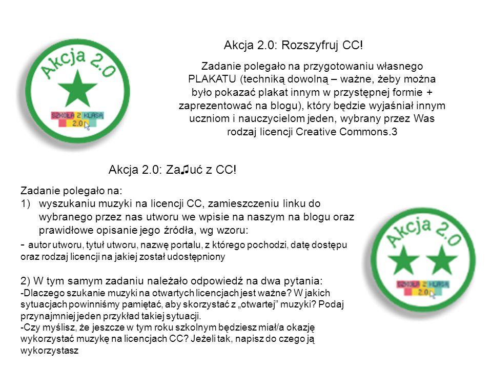 Akcja 2.0: Rozszyfruj CC! Zadanie polegało na przygotowaniu własnego PLAKATU (techniką dowolną – ważne, żeby można było pokazać plakat innym w przystę