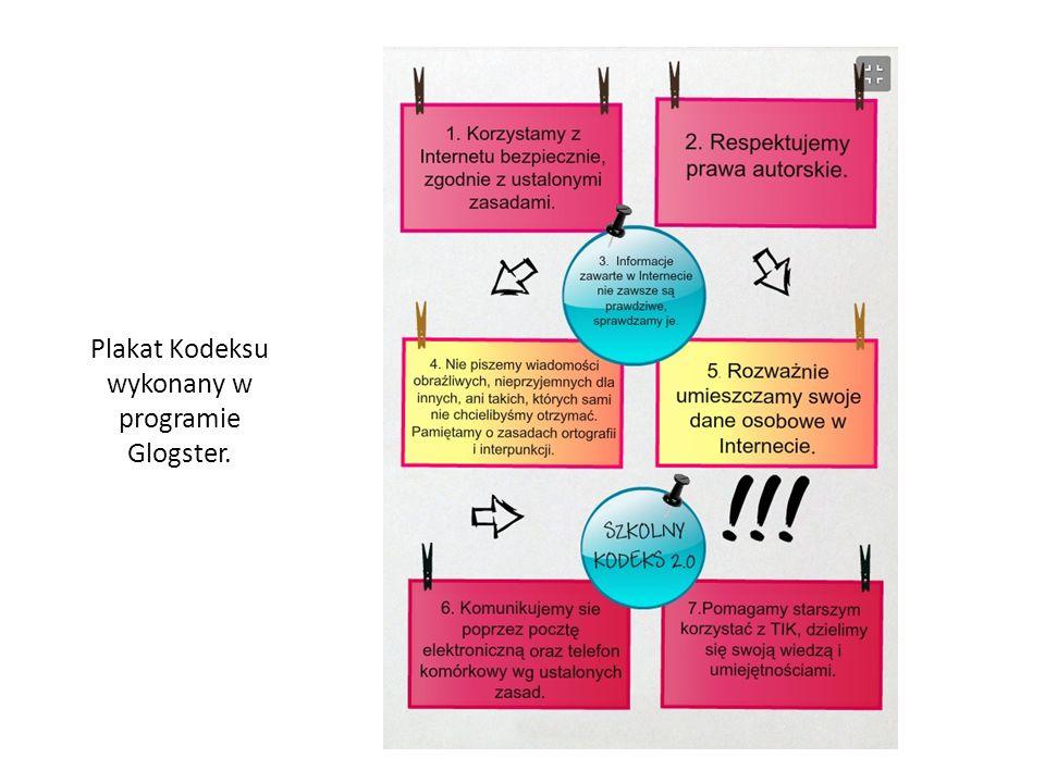 Plakat Kodeksu wykonany w programie Glogster.