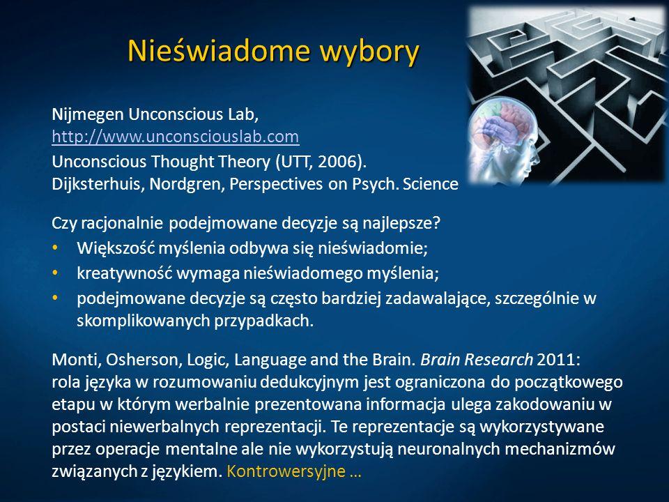 Nieświadome wybory Nijmegen Unconscious Lab, http://www.unconsciouslab.com http://www.unconsciouslab.com Unconscious Thought Theory (UTT, 2006). Dijks