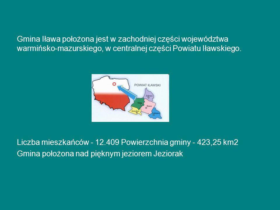 Gmina Iława położona jest w zachodniej części województwa warmińsko-mazurskiego, w centralnej części Powiatu Iławskiego. Liczba mieszkańców - 12.409 P