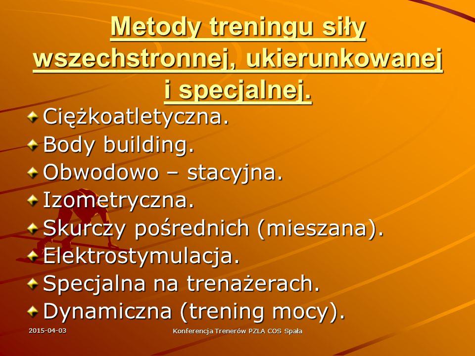 2015-04-03 Konferencja Trenerów PZLA COS Spała Proporcje treningu siłowego Ćw.kształtujace siłę m.kończyn dolnych.