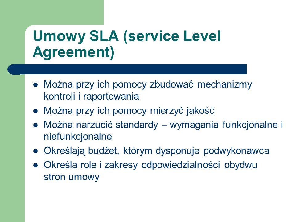 Umowy SLA (service Level Agreement) Można przy ich pomocy zbudować mechanizmy kontroli i raportowania Można przy ich pomocy mierzyć jakość Można narzu