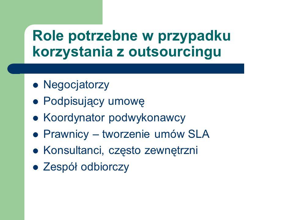 Role potrzebne w przypadku korzystania z outsourcingu Negocjatorzy Podpisujący umowę Koordynator podwykonawcy Prawnicy – tworzenie umów SLA Konsultanc