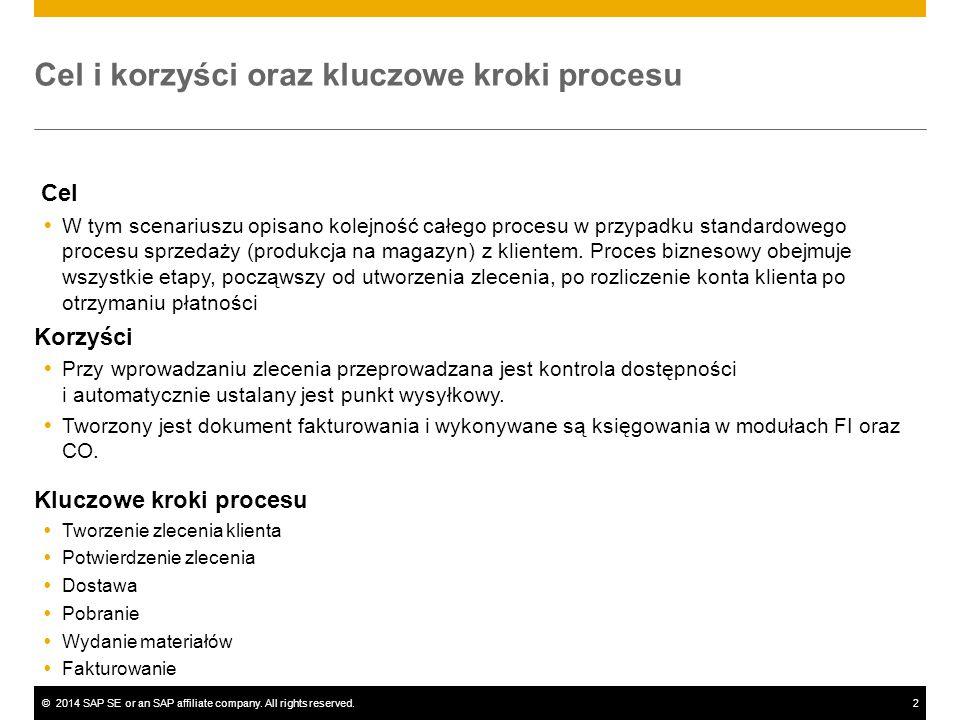 ©2014 SAP SE or an SAP affiliate company. All rights reserved.2 Cel i korzyści oraz kluczowe kroki procesu Cel  W tym scenariuszu opisano kolejność c