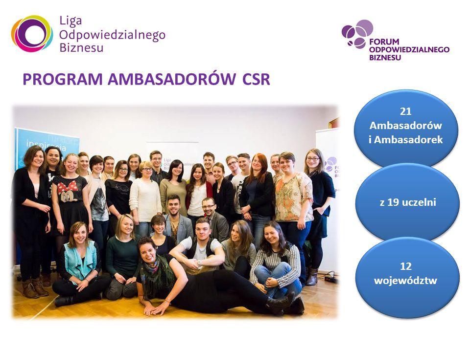 AKADEMIA ODPOWIEDZIALNEGO BIZNESU 12 województw Największa konferencja CSR skierowana do studentów i studentek z całej Polski!