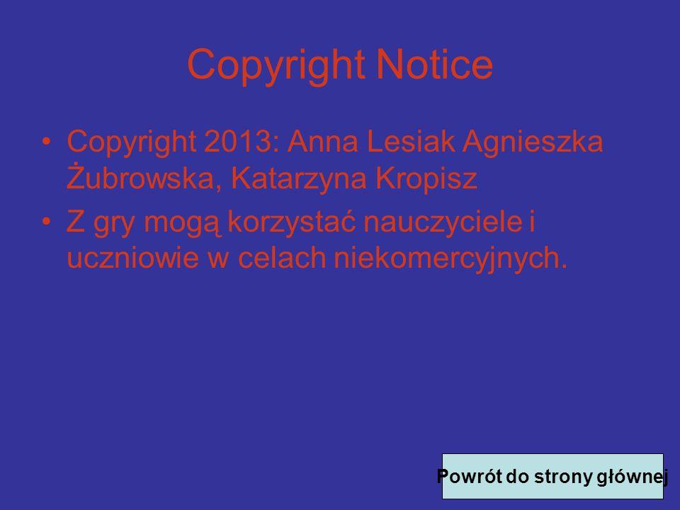 Copyright Notice Copyright 2013: Anna Lesiak Agnieszka Żubrowska, Katarzyna Kropisz Z gry mogą korzystać nauczyciele i uczniowie w celach niekomercyjnych.