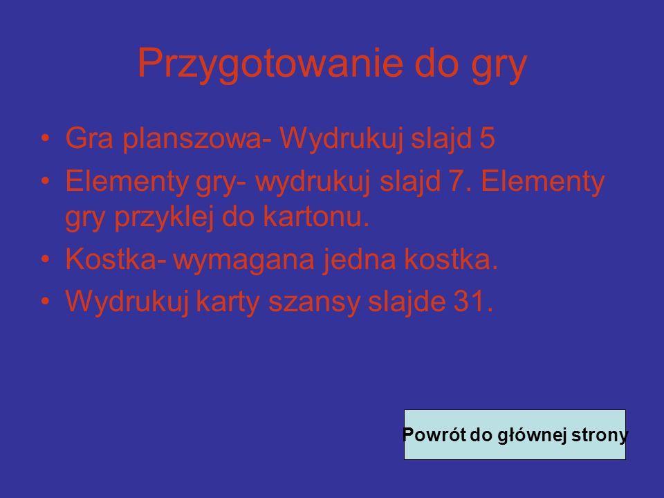 Przygotowanie do gry Gra planszowa- Wydrukuj slajd 5 Elementy gry- wydrukuj slajd 7.