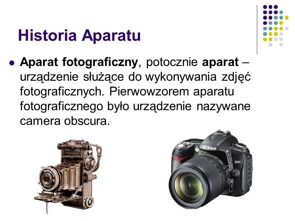 Historia Aparatu Aparat fotograficzny, potocznie aparat – urządzenie służące do wykonywania zdjęć fotograficznych.