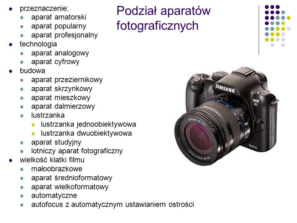 Podział aparatów fotograficznych przeznaczenie: aparat amatorski aparat popularny aparat profesjonalny technologia aparat analogowy aparat cyfrowy budowa aparat przeziernikowy aparat skrzynkowy aparat mieszkowy aparat dalmierzowy lustrzanka lustrzanka jednoobiektywowa lustrzanka dwuobiektywowa aparat studyjny lotniczy aparat fotograficzny wielkość klatki filmu małoobrazkowe aparat średnioformatowy aparat wielkoformatowy automatyczne autofocus z automatycznym ustawianiem ostrości