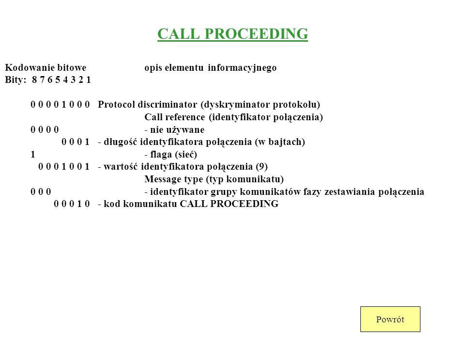 INFORMATION Kodowanie bitoweopis elementu informacyjnego Bity: 8 7 6 5 4 3 2 1 0 0 0 0 1 0 0 0 Protocol discriminator (dyskryminator protokołu) Call r