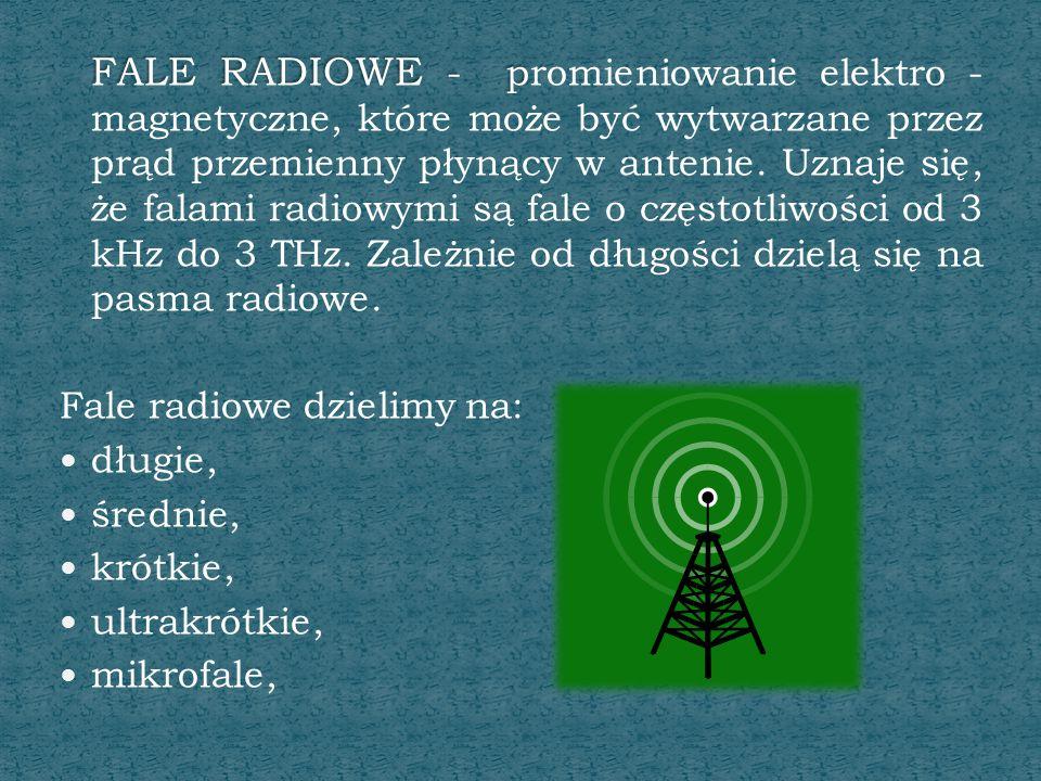 FALE RADIOWE - p FALE RADIOWE - promieniowanie elektro - magnetyczne, które może być wytwarzane przez prąd przemienny płynący w antenie. Uznaje się, ż