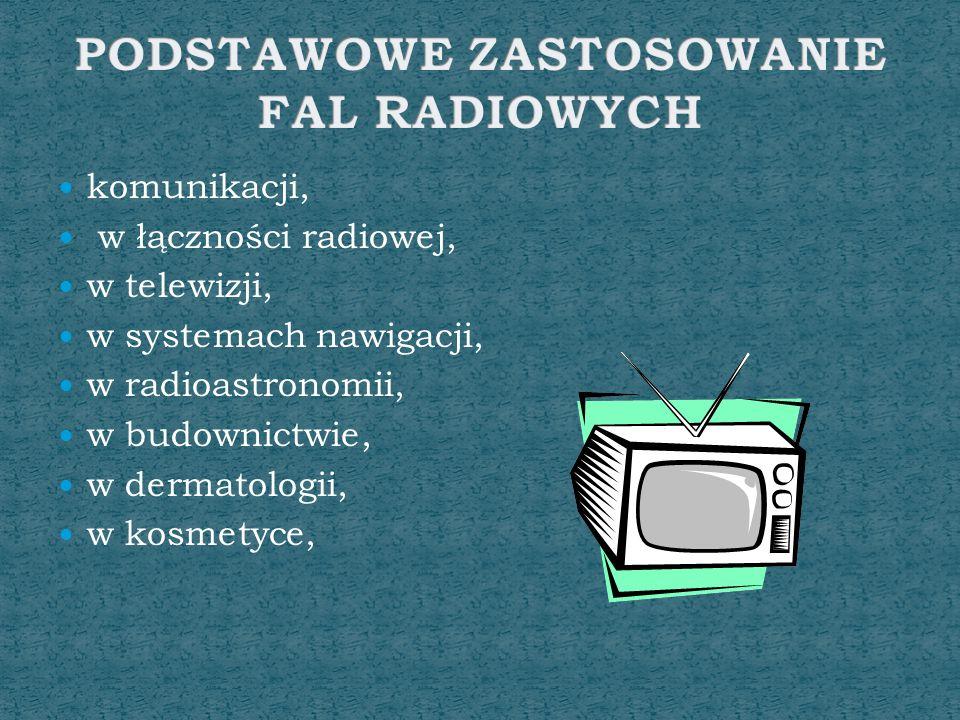 komunikacji, w łączności radiowej, w telewizji, w systemach nawigacji, w radioastronomii, w budownictwie, w dermatologii, w kosmetyce,