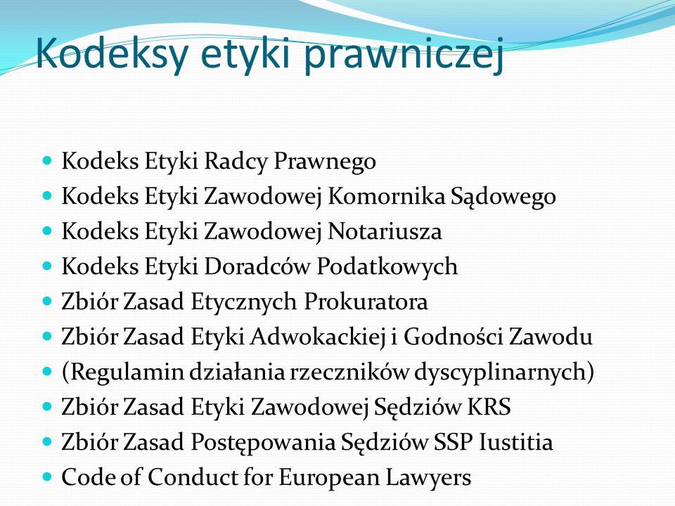 Kodeksy etyki prawniczej Kodeks Etyki Radcy Prawnego Kodeks Etyki Zawodowej Komornika Sądowego Kodeks Etyki Zawodowej Notariusza Kodeks Etyki Doradców