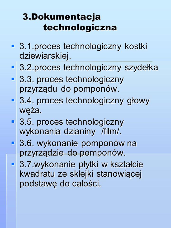 3.Dokumentacja technologiczna  3.1.proces technologiczny kostki dziewiarskiej.  3.2.proces technologiczny szydełka  3.3. proces technologiczny przy