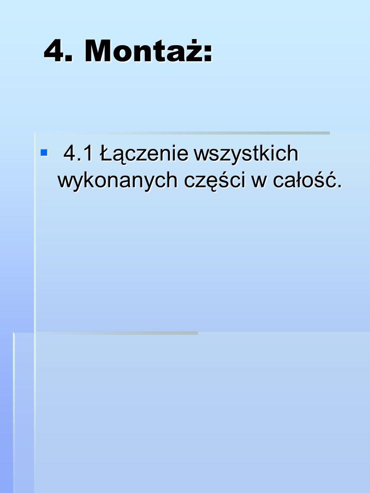 Lp.Operacje technologiczne MateriałyNarzędzia i przybory 1.Przeniesienie wymiaru na materiał listewkaprzymiar, ołówek 2.Przerzynanie listewki w imadle listewkaimadło ślusarskie lub stolarskie, piła, klocki drewniane 3.Szlifowanie krawędzilistewkapapier ścierny do drewna, klocek drewniany 4.Przeniesienie wymiaru- wyznaczenie środka otworu listewkaołówek, przymiar 5.Wiercenie otworulistewkaświder, wiertarka ręczna, wiertarka elektryczna 6.Wyznaczenie miejsc gdzie będą wbite gwoździe listewkaołówek młotek kolec, znacznik 7.Wbicie gwoździlistewkamłotek gwoździe 8.Kontrola dokładności wykonania przymiar suwmiarka 9.Oczyszczenie narzędzi i sprzątnięcie stanowiska pracy szczotka ścierka Proces technologiczny kostki dziewiarskiej.