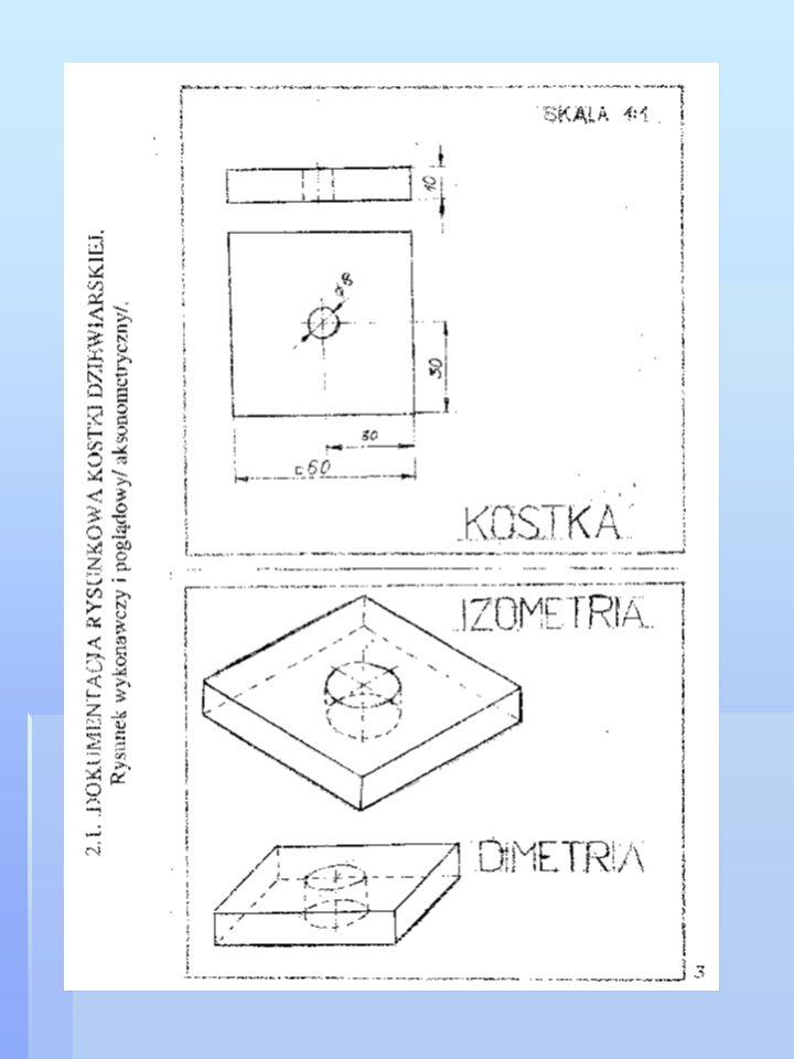 Zadanie domowe. 1.Przerysuj rysunek kostki dziewiarskiej zgodnie ze wzorem w skali 2/1.