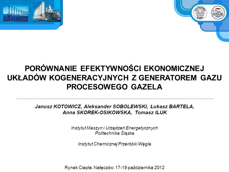 Układ generacji gazu procesowego Janusz KOTOWICZ, Aleksander SOBOLEWSKI Łukasz BARTELA, Anna SKOREK-OSIKOWSKA, Tomasz ILUK PORÓWNANIE EFEKTYWNOŚCI EKONOMICZNEJ UKŁADÓW KOGENERACYJNYCH Z GENERATOREM GAZU PROCESOWEGO GAZELA C%41,63 H%4,93 O%38,22 N%0,16 S%0,03 Wilgoć%14,60 Popiół%0,43 WdWd kJ/kg14200 E ch_01 kW1500 H2H2 %5,9 CH 4 %1,7 CO%19,8 CO 2 %7,5 N2N2 %44,3 H2OH2O%20,8 t 11 ºC950 t 12 ºC40 η GG %63η IOG %95