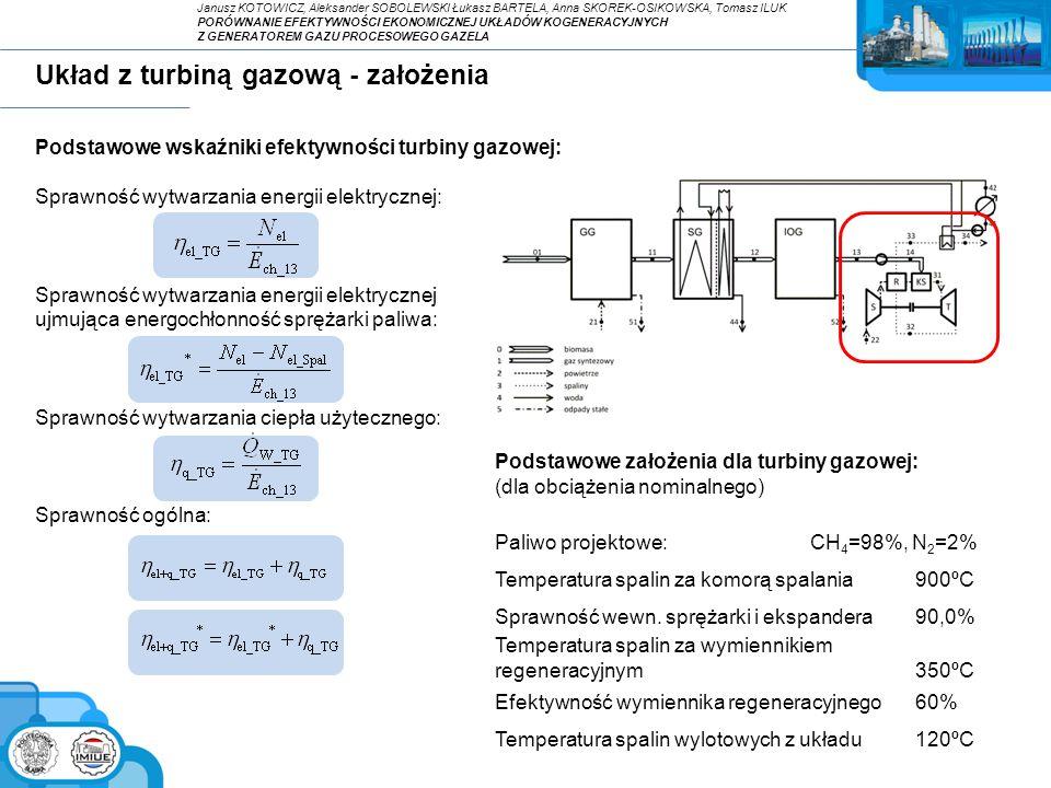 Układ z turbiną gazową - założenia Podstawowe wskaźniki efektywności turbiny gazowej: Sprawność wytwarzania energii elektrycznej: Sprawność wytwarzani