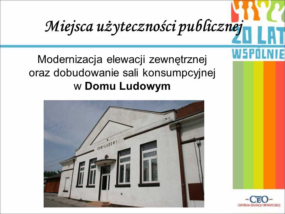 Miejsca użyteczności publicznej Modernizacja elewacji zewnętrznej oraz dobudowanie sali konsumpcyjnej w Domu Ludowym