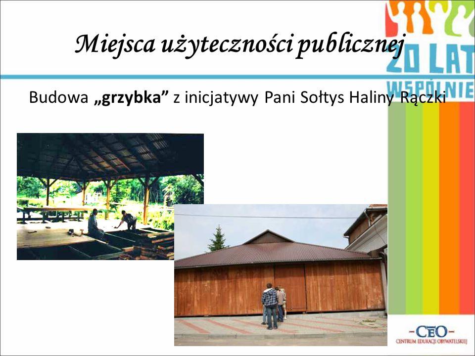 """Miejsca użyteczności publicznej Budowa """"grzybka"""" z inicjatywy Pani Sołtys Haliny Rączki"""
