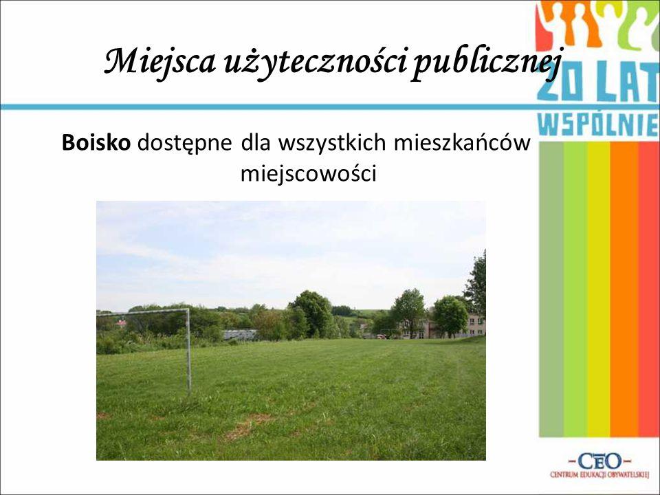 Miejsca użyteczności publicznej Boisko dostępne dla wszystkich mieszkańców miejscowości