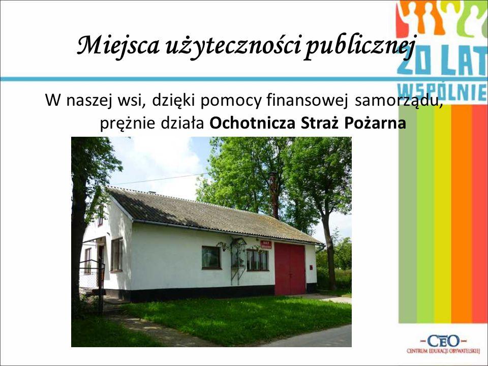 W naszej wsi, dzięki pomocy finansowej samorządu, prężnie działa Ochotnicza Straż Pożarna Miejsca użyteczności publicznej